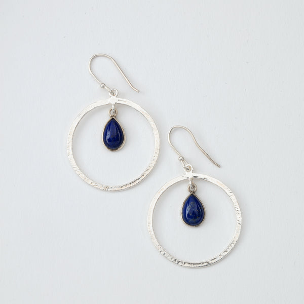 Circle and Lapis Dangle Earrings