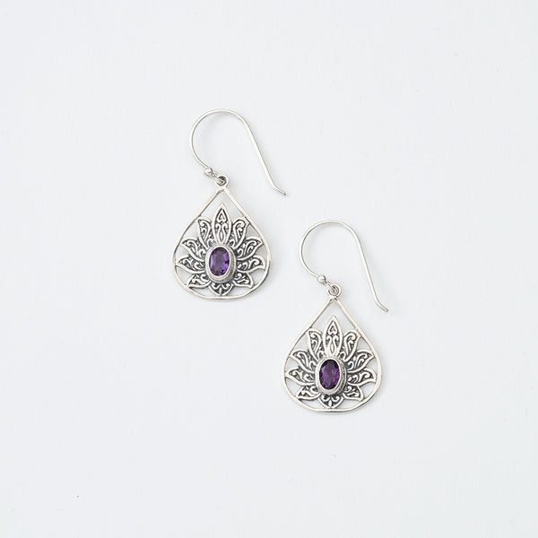 Lotus Flower Purple Gem Earrings