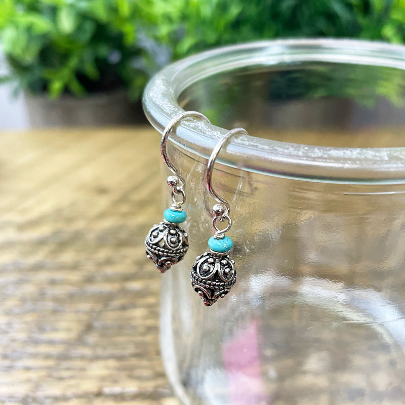 Small Tibetan Ball Earrings with Turquoise