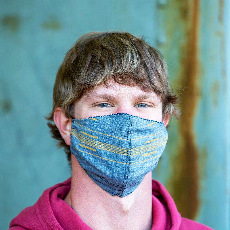 Blue & Yellow Striped Reusable Cloth Face Mask