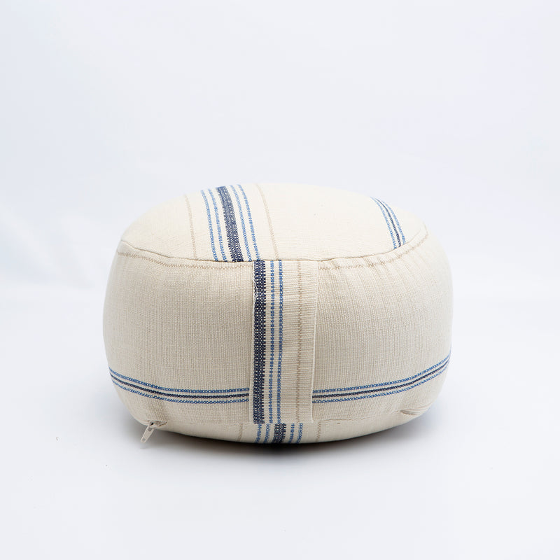Blue and Tan Striped Buckwheat Hull Zafu