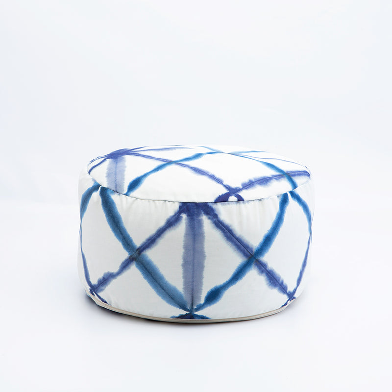 Blue Watercolor Geometric Print Buckwheat Hull Zafu