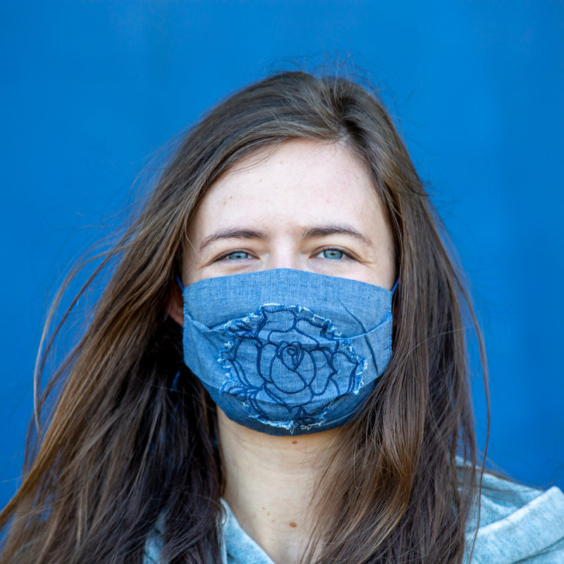 Blue Rose Reusable Cloth Face Mask