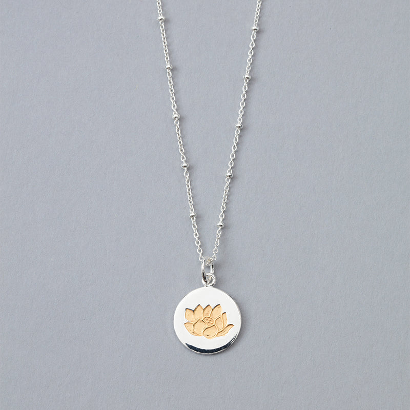 Silver and Yellow Lotus Flower Pendant Necklace