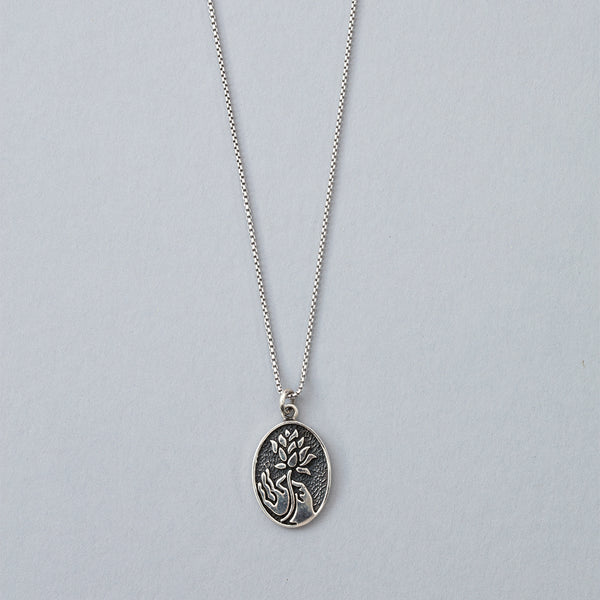 Silver Lotus Flower and Hand Necklace