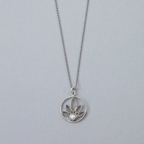 Lotus Flower with Pearl Necklace