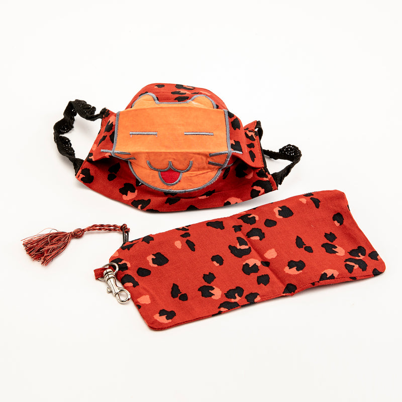 Orange Cat Reusable Cloth Mask with Bag