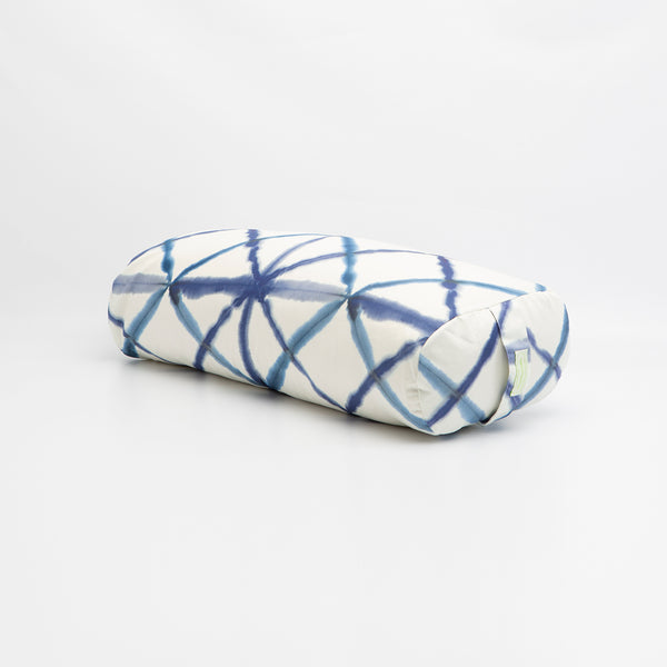 Blue Watercolor Geometric Rectangular Bolster
