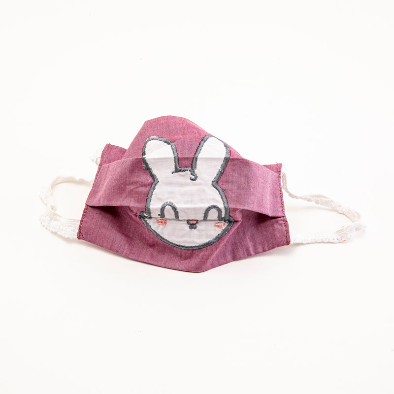 Pink Reusable Cloth Face Mask with Bunny