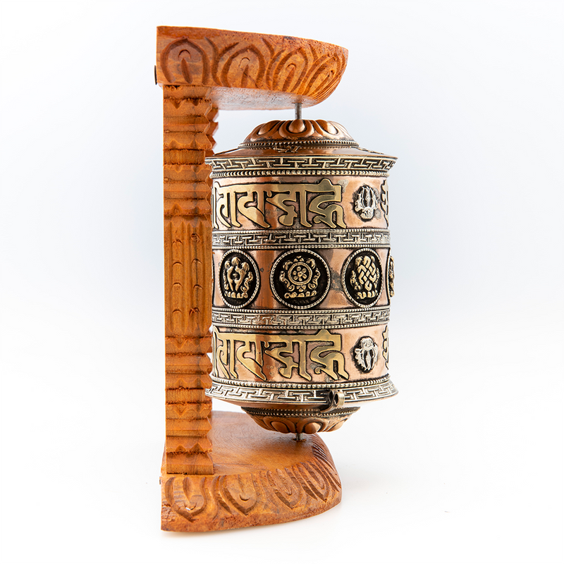 Prayer Wheel with Natural Wood Frame