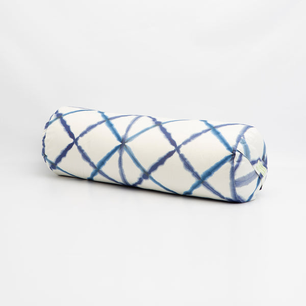 Blue Watercolor Geometric Round Bolster