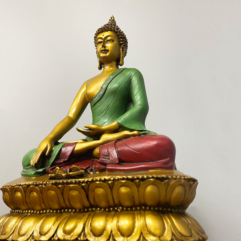 Painted Earth Touching Buddha Statue