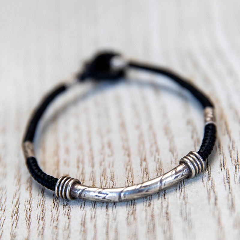 Silver and Rope Bracelet
