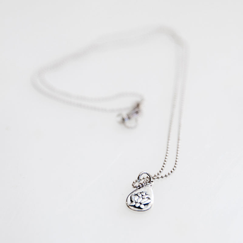 Silver Lotus Drop Necklace