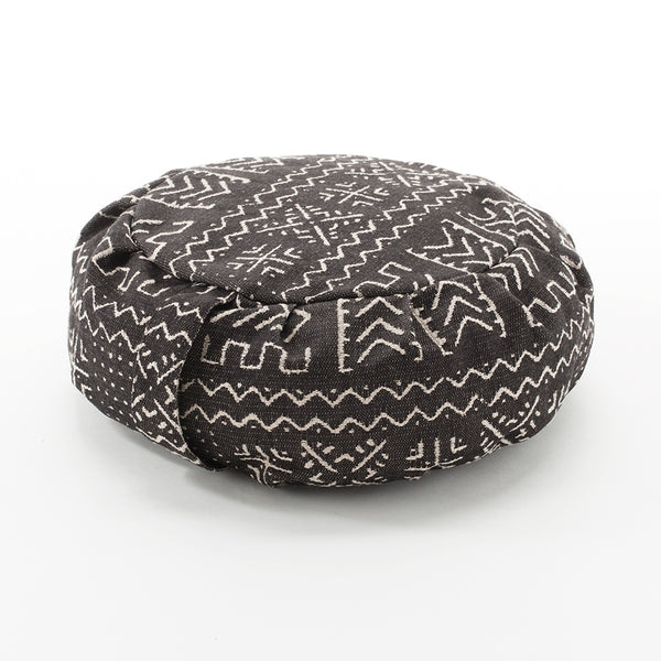 Tribal Print Buckwheat Hull Zafu, Black