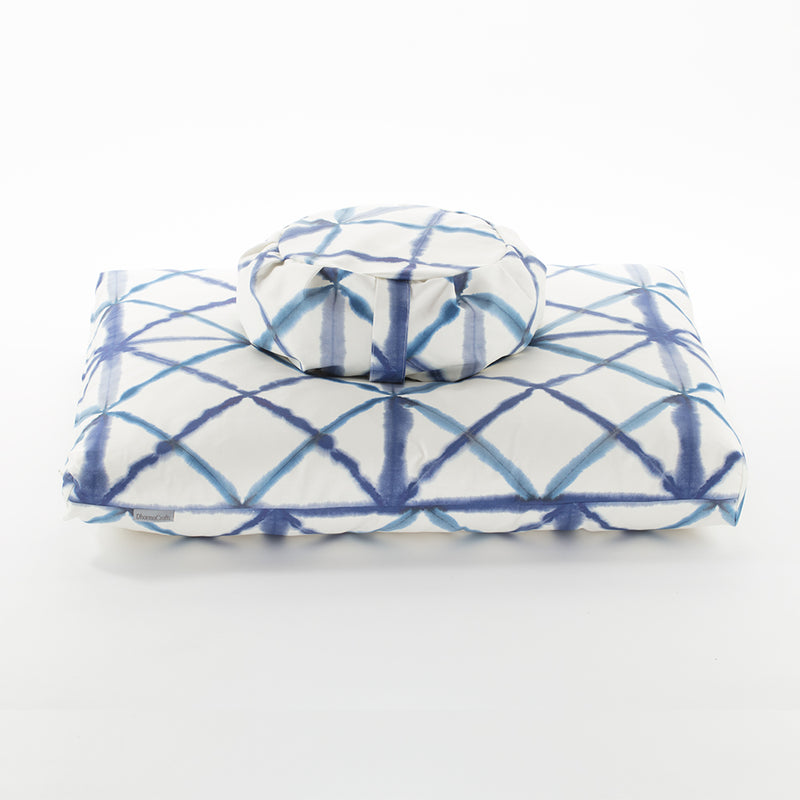 Watercolor Geometric Zafu Zabuton Set, Blue