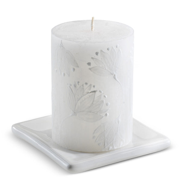 White Ceramic Candle Plate