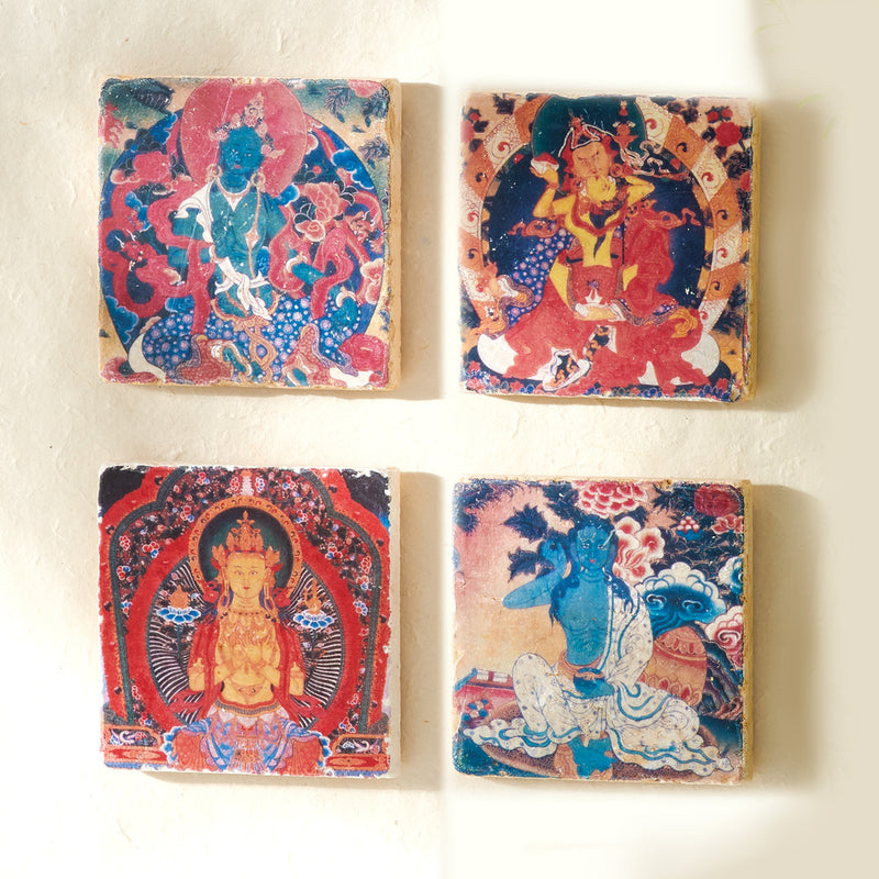 Tibetan Buddhist Art Tiles, set of 4