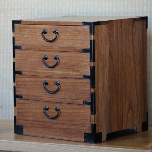 Four Drawer Tansu, Teak Finish