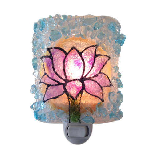 Recycled Glass Lotus Blossom Night Light