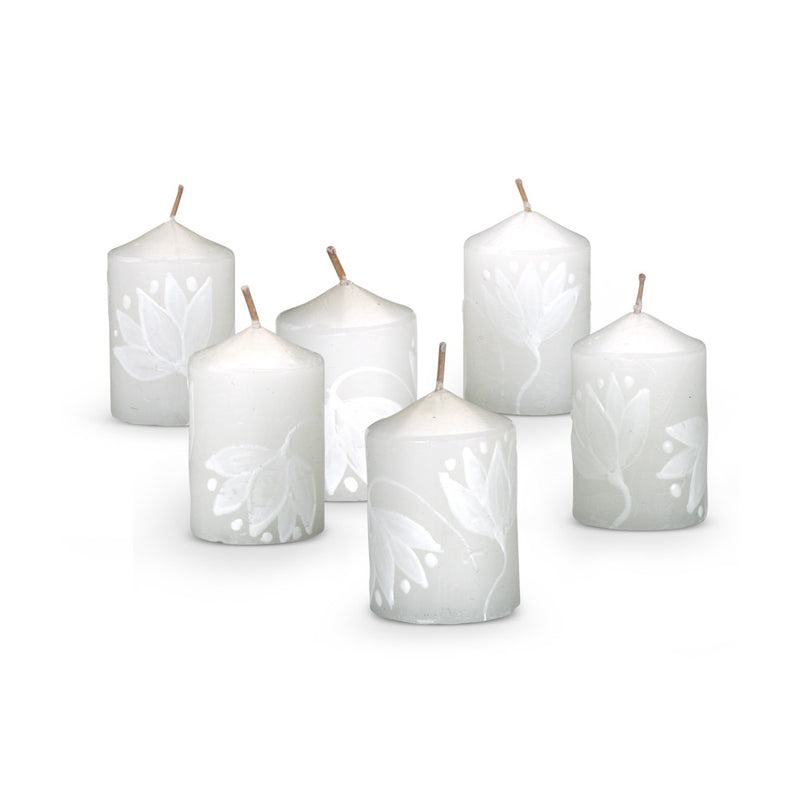 Hand Painted Lotus Flower Votive Candles, set of 6