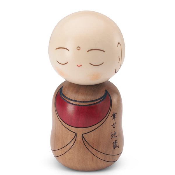 Hand Crafted Wood Jizo Statue