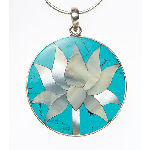 Turquoise and Mother of Pearl Lotus Flower Pendant