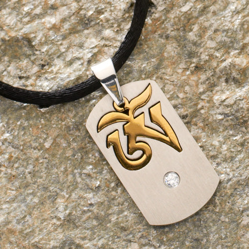 Tibetan Om Pendant with Jewel