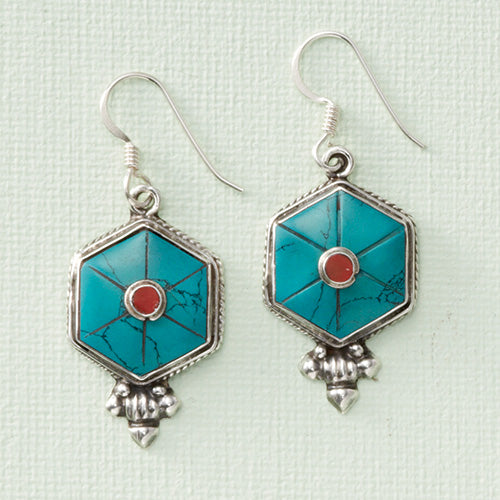 Turquoise and New Coral Mandala Earrings