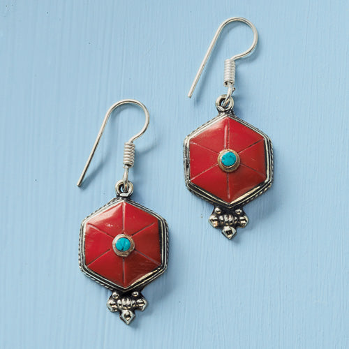 New Coral and Turquoise Mandala Earrings