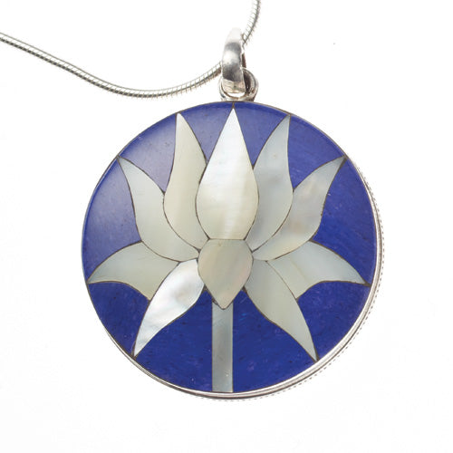 Lapis and Mother-of-Pearl Lotus Flower Pendant