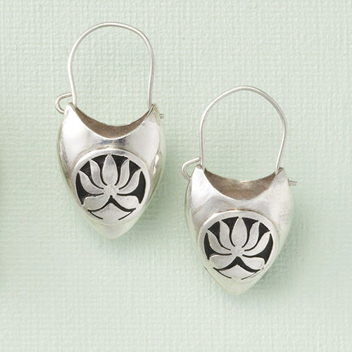 Sterling Silver Lotus Basket Earrings