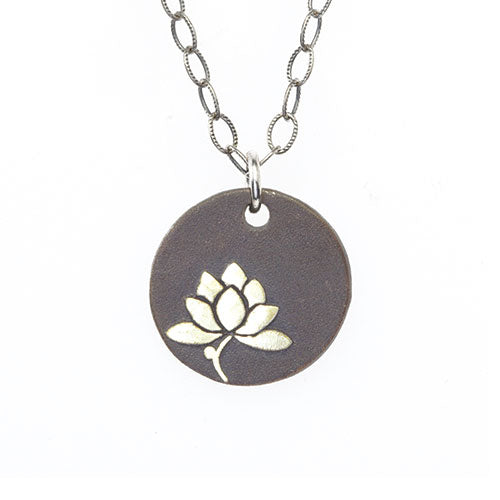 Silver Lotus Yoga Necklace
