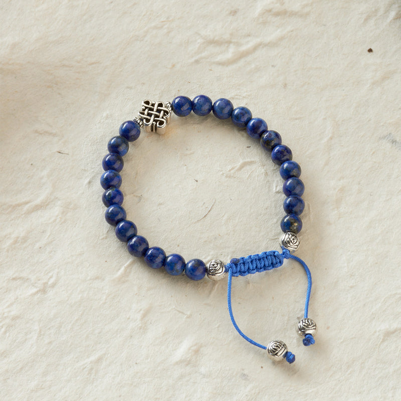 Endless Knot Adjustable Bracelet, lapis