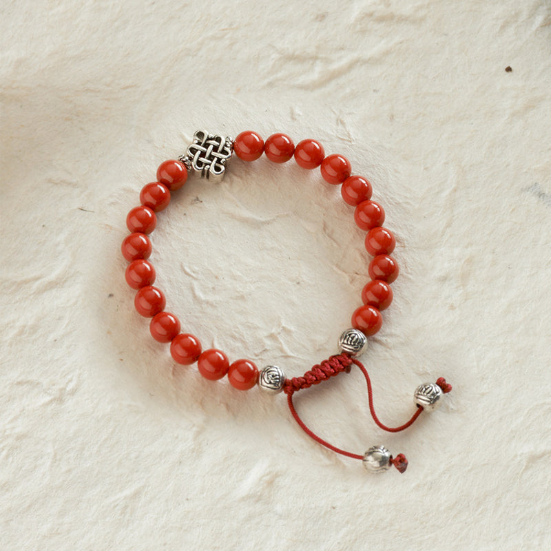 Endless Knot Adjustable Bracelet, coral