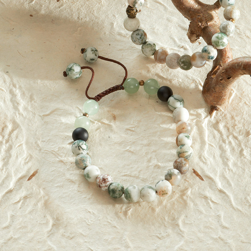 Tree Agate Adjustable Bracelet