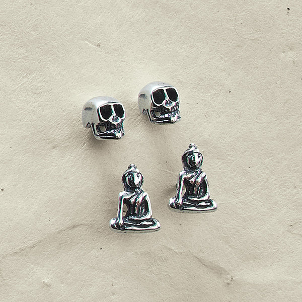 Tiny Buddha and Skull Earring Set