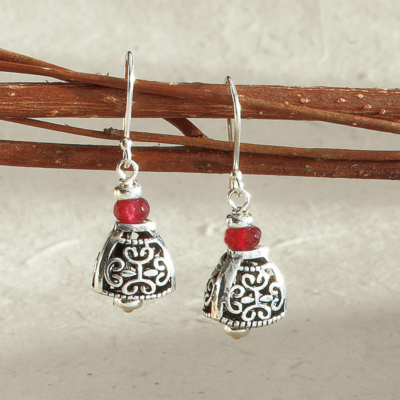 Temple Bell Earrings with Garnet