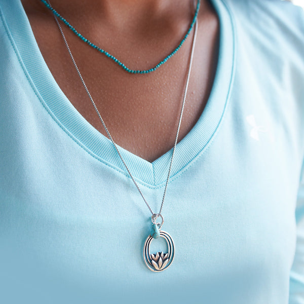 Sterling Silver Lotus Necklace with Turquoise Drop