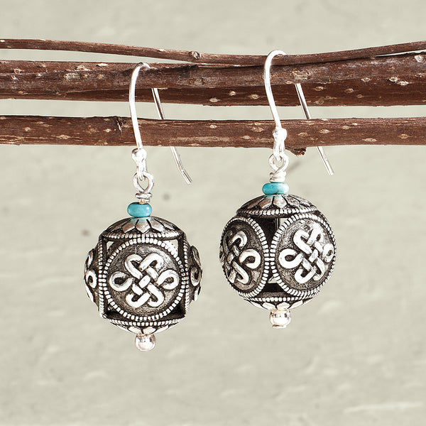 Eternal Knot Earrings with Turquoise