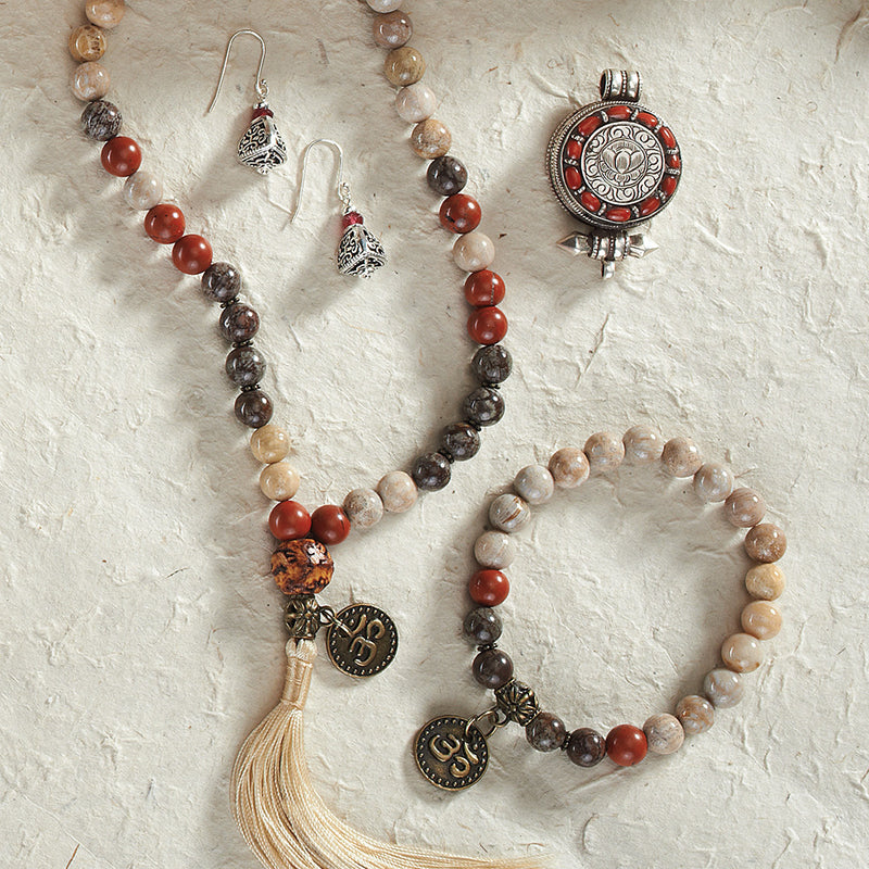 Fossil Coral and Red Jasper Stretchy Mala