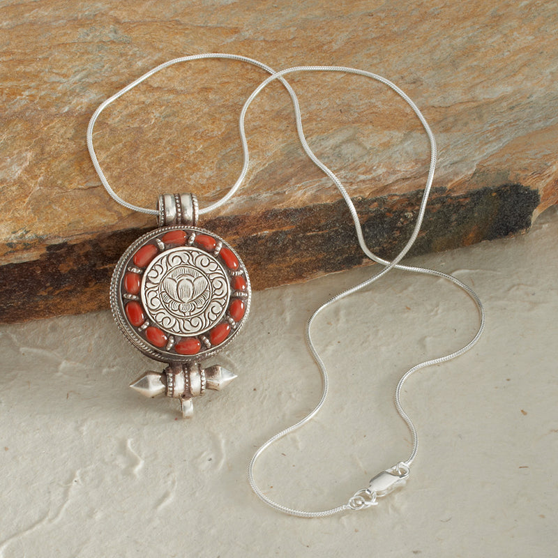 Sterling Lotus Pendant with Natural Coral Frame