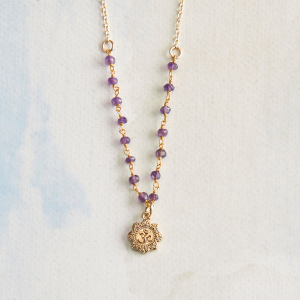 Vermeil and Amethyst Om Yoga Necklace
