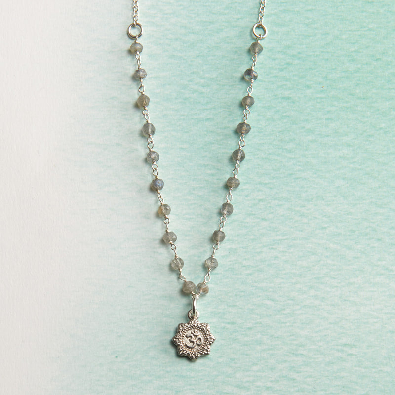 Sterling & Labradorite Om Yoga Necklace