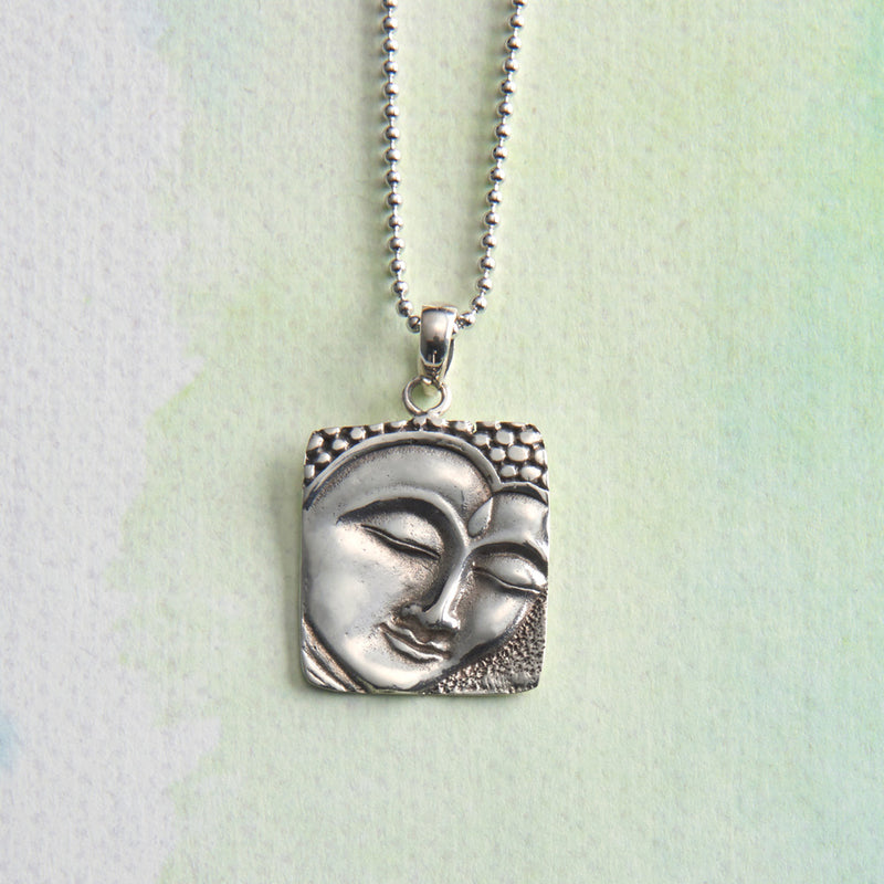 Sterling Silver Buddha Face Necklace