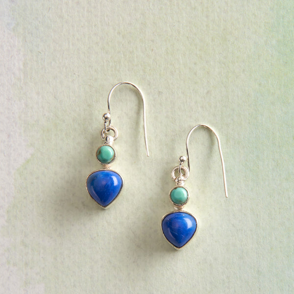 Lapis and Turquoise Drop Earrings