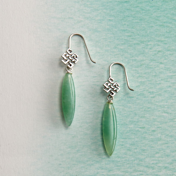 Endless Knot Jade Earrings