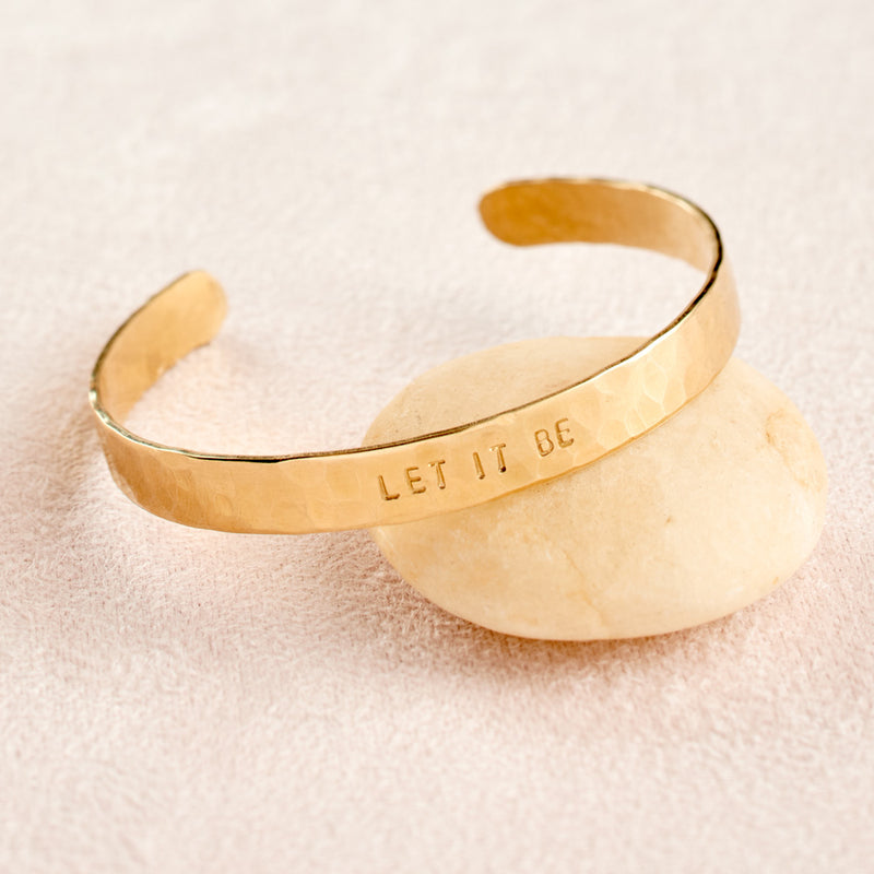 Let It Be Cuff Bracelet, hammered brass