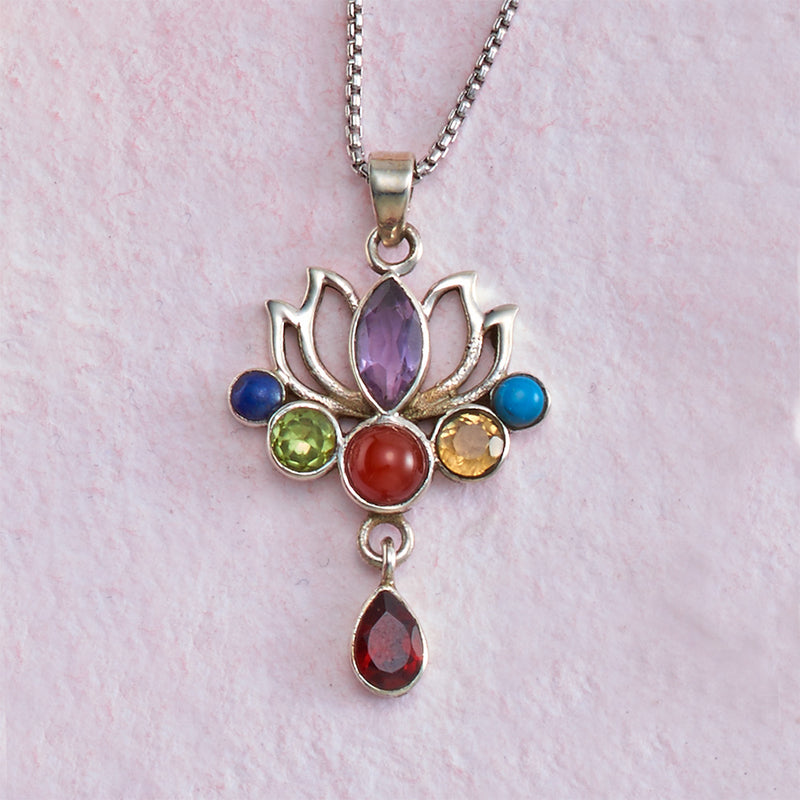Sterling Silver Lotus Necklace with Chakra Stones