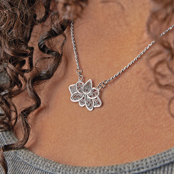 Sterling Silver Filigree Lotus Necklace